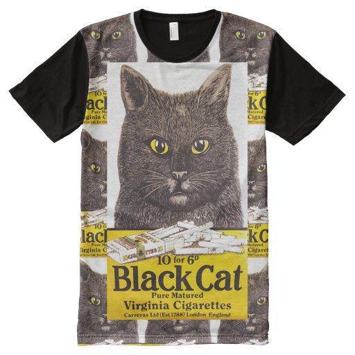 Vintage Black Cat Pure Matured Virginia Cigarettes All-Over-Print Shirt