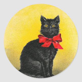Vintage Black Cat Classic Round Sticker