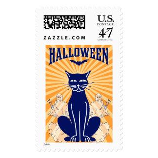 Vintage Black Cat & Ghosts Halloween Postage