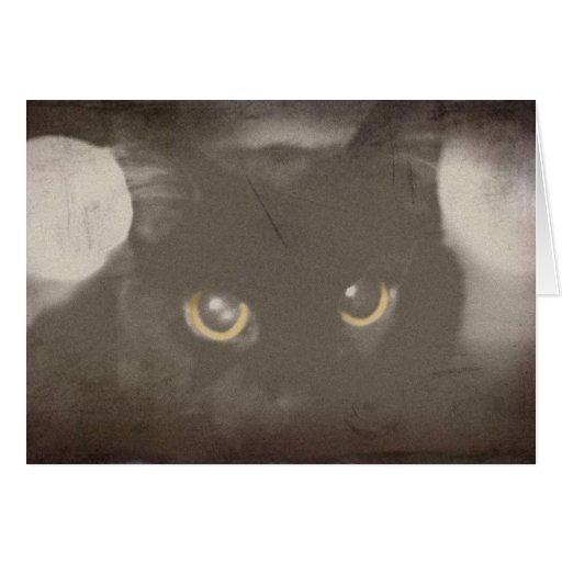 Vintage Black Cat Greeting Card