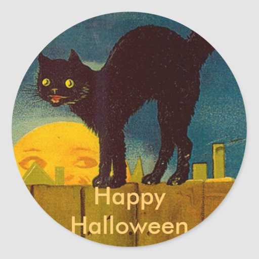 Vintage Black Cat Halloween Classic Round Sticker