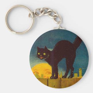 Vintage Black Cat Halloween Keychain