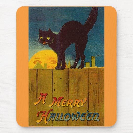 Vintage Black Cat Halloween Mouse Pad