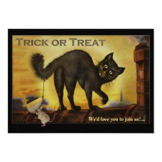 Vintage Black Cat Halloween Party Invitation