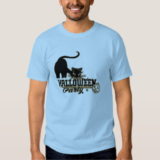 Vintage Black Cat Halloween Party Tee Shirt