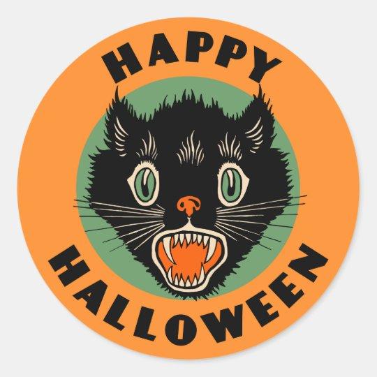 Vintage Black Cat - Happy Halloween Sticker   Zazzle.com