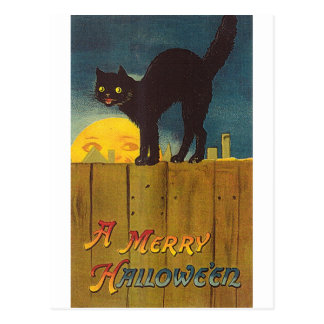 Vintage Black cat on a Fence Halloween Card