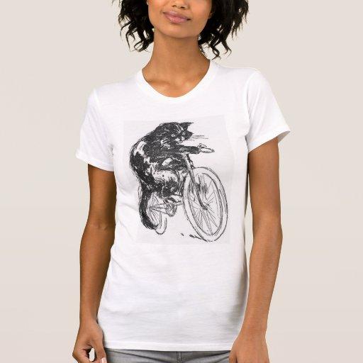 Vintage Black Cat On Bicycle Shirt