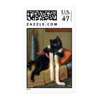 vintage black cat postcard postage stamp