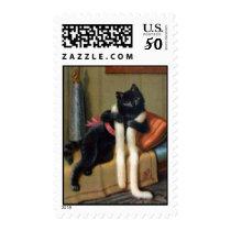 vintage black cat postcard postage stamp