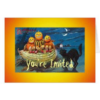 Vintage Black Cat Pumpkin Invite Card