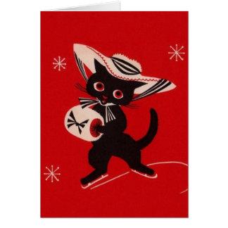 Vintage Black Cat Skater Greeting Card