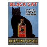 Vintage Black Cat Stove Polish Ad Note Card