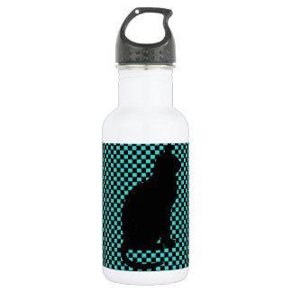 Vintage Black Cat Teal Checkers Pattern. Stainless Steel Water Bottle
