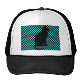 Vintage Black Cat Teal Checkers Pattern. Trucker Hat