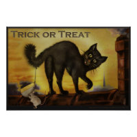 Vintage Black Cat Trick or Treat Humorous Poster