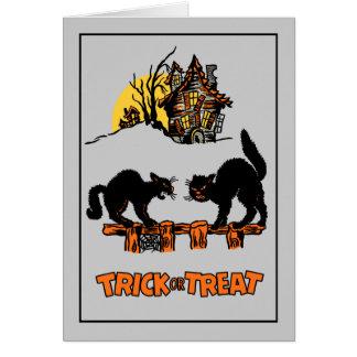 Vintage Black Cats Halloween Card