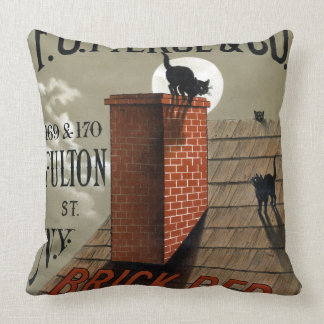 Vintage Black Cats in the Moonlight Advertisement Throw Pillow