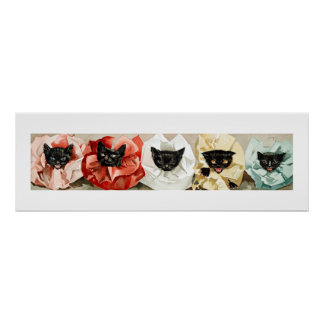 Vintage Black Cats with Ruffled Collars by Janus Poster