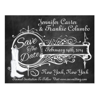 Vintage Black Chalkboard Cowboy Save The Date Postcard
