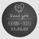 Vintage Black Chalkboard | Heart Wedding Thank You Classic Round Sticker