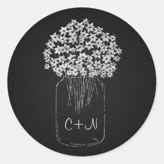Vintage Black Chalkboard Mason Jar Flowers Wedding Classic Round Sticker