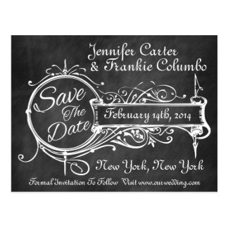 Vintage Black Chalkboard Save The Date Postcard