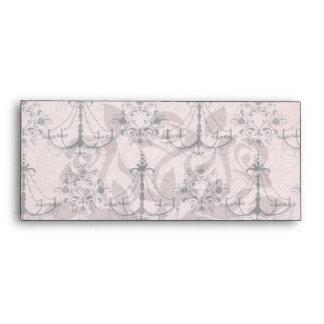 vintage black chandelier damask on lovely pink envelopes