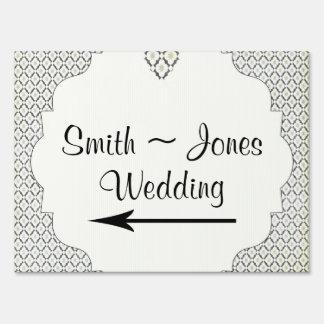 Vintage Black Cream Diamond Wedding Direction Sign