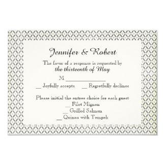 Vintage Black Cream Diamond Wedding Response Card