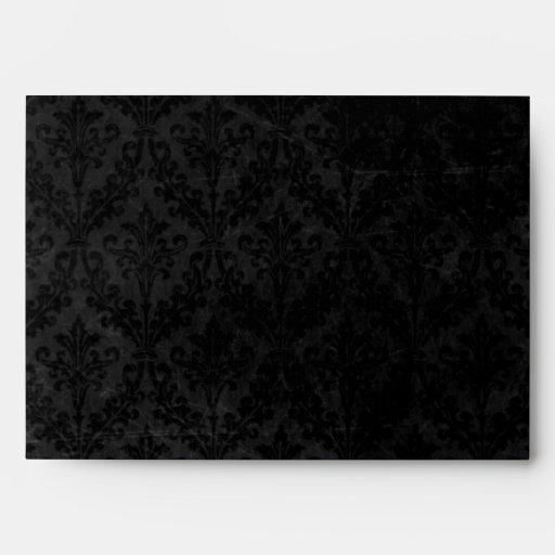 Vintage Black Damask: Custom Linen Wedding A-7 Envelope