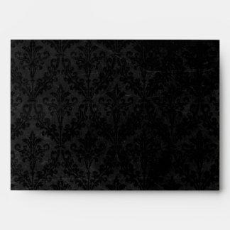 Vintage Black Damask: Custom Linen Wedding A-7 Envelopes
