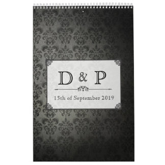 Vintage Black Damask Monogram Wedding Guestbook Calendar