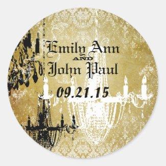 Vintage Black Damask Teal and Gold Wedding Sticker