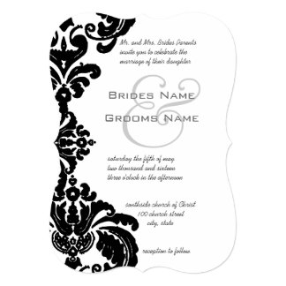 Vintage Black Damask Wedding Invitations