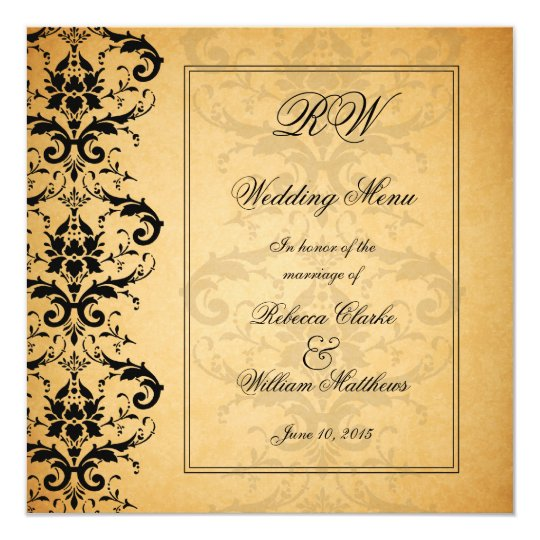 Vintage Black Damask Wedding Menu Card