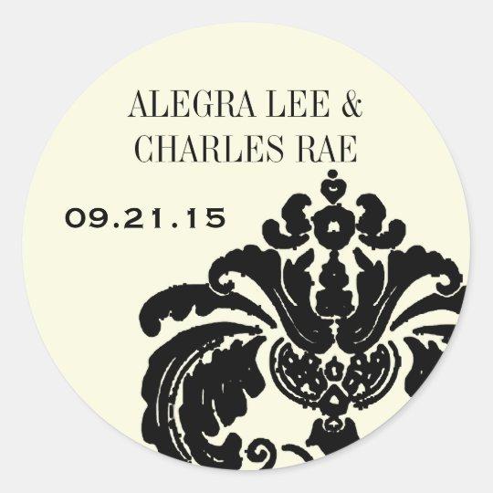 Vintage Black Damask Wedding Sticker