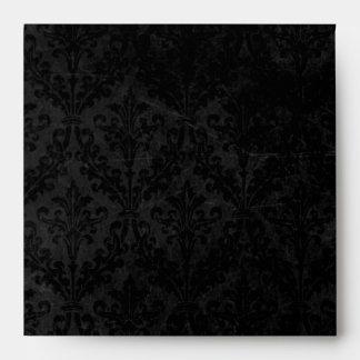 Vintage Black Damask with Ornament: Linen Square Envelope