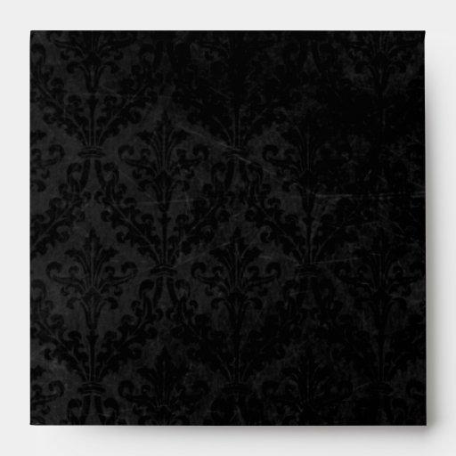 Vintage Black Damask with Ornament: Linen Square Envelopes