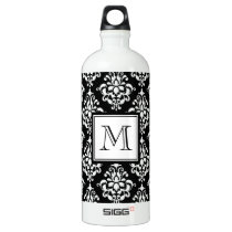VINTAGE BLACK DAMASK YOUR MONOGRAM ALUMINUM WATER BOTTLE