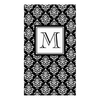 VINTAGE BLACK DAMASK YOUR MONOGRAM Double-Sided STANDARD BUSINESS CARDS (Pack OF 100)