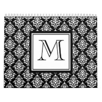 VINTAGE BLACK DAMASK YOUR MONOGRAM CALENDAR