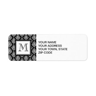 VINTAGE BLACK DAMASK YOUR MONOGRAM LABEL