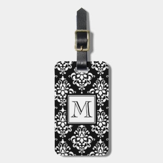 VINTAGE BLACK DAMASK YOUR MONOGRAM LUGGAGE TAG