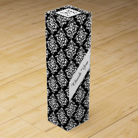 VINTAGE BLACK DAMASK YOUR MONOGRAM WINE GIFT BOX