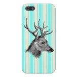 Vintage Black Deer Girly Teal White Stripes iPhone 5 Case