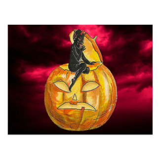 Vintage Black Devil on Jack o' Lantern Postcard