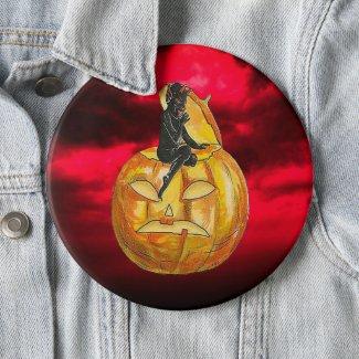 Vintage Black Devil on Jack o' Lantern Red Clouds Button