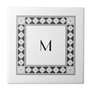 Vintage Black Diamond Frame Monogram Tile