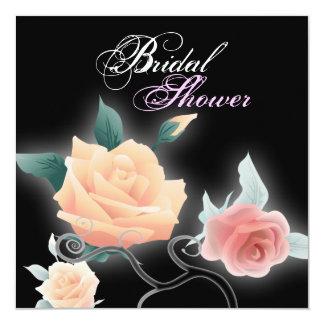 vintage black floral botanical bridal shower card